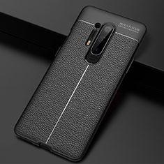 Silikon Hülle Handyhülle Gummi Schutzhülle Flexible Leder Tasche H03 für OnePlus 8 Pro Schwarz