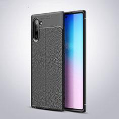 Silikon Hülle Handyhülle Gummi Schutzhülle Flexible Leder Tasche H03 für Samsung Galaxy Note 10 5G Schwarz