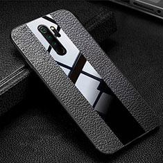 Silikon Hülle Handyhülle Gummi Schutzhülle Flexible Leder Tasche H04 für Xiaomi Redmi Note 8 Pro Schwarz