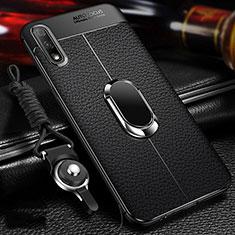 Silikon Hülle Handyhülle Gummi Schutzhülle Flexible Leder Tasche mit Magnetisch Fingerring Ständer für Huawei Enjoy 10 Schwarz