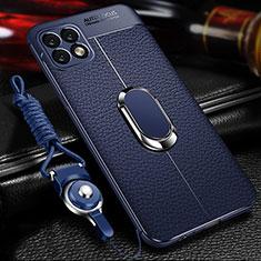 Silikon Hülle Handyhülle Gummi Schutzhülle Flexible Leder Tasche mit Magnetisch Fingerring Ständer für Huawei Enjoy 20 5G Blau