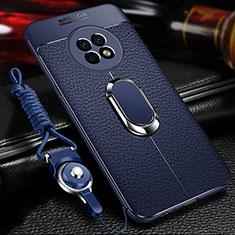 Silikon Hülle Handyhülle Gummi Schutzhülle Flexible Leder Tasche mit Magnetisch Fingerring Ständer für Huawei Enjoy 20 Plus 5G Blau