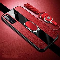 Silikon Hülle Handyhülle Gummi Schutzhülle Flexible Leder Tasche mit Magnetisch Fingerring Ständer für Huawei Enjoy 20 Pro 5G Rot