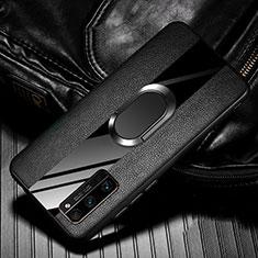 Silikon Hülle Handyhülle Gummi Schutzhülle Flexible Leder Tasche mit Magnetisch Fingerring Ständer für Huawei Honor 30 Pro+ Plus Schwarz