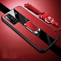 Silikon Hülle Handyhülle Gummi Schutzhülle Flexible Leder Tasche mit Magnetisch Fingerring Ständer für Huawei Honor 30 Rot