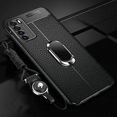 Silikon Hülle Handyhülle Gummi Schutzhülle Flexible Leder Tasche mit Magnetisch Fingerring Ständer für Huawei Honor Play4 5G Schwarz