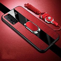 Silikon Hülle Handyhülle Gummi Schutzhülle Flexible Leder Tasche mit Magnetisch Fingerring Ständer für Huawei Honor Play4T Pro Rot
