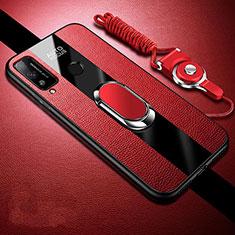 Silikon Hülle Handyhülle Gummi Schutzhülle Flexible Leder Tasche mit Magnetisch Fingerring Ständer für Huawei Honor Play4T Rot