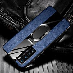 Silikon Hülle Handyhülle Gummi Schutzhülle Flexible Leder Tasche mit Magnetisch Fingerring Ständer für Huawei Nova 7 Pro 5G Blau