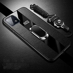 Silikon Hülle Handyhülle Gummi Schutzhülle Flexible Leder Tasche mit Magnetisch Fingerring Ständer für Oppo A73 5G Schwarz