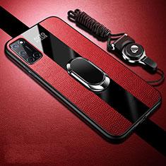 Silikon Hülle Handyhülle Gummi Schutzhülle Flexible Leder Tasche mit Magnetisch Fingerring Ständer für Oppo A92 Rot