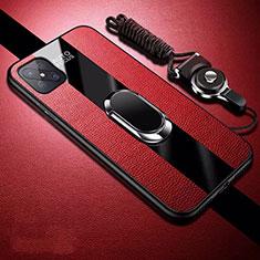 Silikon Hülle Handyhülle Gummi Schutzhülle Flexible Leder Tasche mit Magnetisch Fingerring Ständer für Oppo A92s 5G Rot