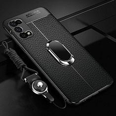 Silikon Hülle Handyhülle Gummi Schutzhülle Flexible Leder Tasche mit Magnetisch Fingerring Ständer für Oppo K7x 5G Schwarz