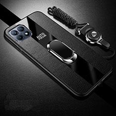 Silikon Hülle Handyhülle Gummi Schutzhülle Flexible Leder Tasche mit Magnetisch Fingerring Ständer für Oppo Reno4 SE 5G Schwarz