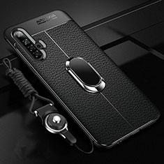 Silikon Hülle Handyhülle Gummi Schutzhülle Flexible Leder Tasche mit Magnetisch Fingerring Ständer für Realme X3 SuperZoom Schwarz