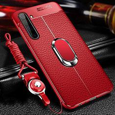 Silikon Hülle Handyhülle Gummi Schutzhülle Flexible Leder Tasche mit Magnetisch Fingerring Ständer für Realme X50 Pro 5G Rot