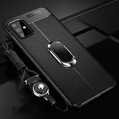 Silikon Hülle Handyhülle Gummi Schutzhülle Flexible Leder Tasche mit Magnetisch Fingerring Ständer für Samsung Galaxy A51 4G Schwarz