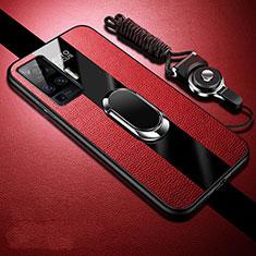 Silikon Hülle Handyhülle Gummi Schutzhülle Flexible Leder Tasche mit Magnetisch Fingerring Ständer für Vivo X50 Pro 5G Rot