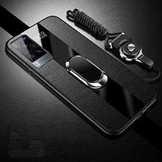 Silikon Hülle Handyhülle Gummi Schutzhülle Flexible Leder Tasche mit Magnetisch Fingerring Ständer für Vivo X60 5G Schwarz