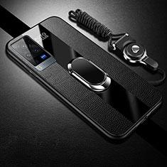 Silikon Hülle Handyhülle Gummi Schutzhülle Flexible Leder Tasche mit Magnetisch Fingerring Ständer für Vivo X60 Pro 5G Schwarz