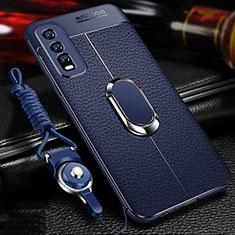 Silikon Hülle Handyhülle Gummi Schutzhülle Flexible Leder Tasche mit Magnetisch Fingerring Ständer für Vivo Y20 Blau