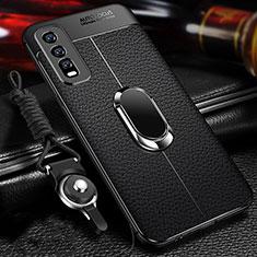 Silikon Hülle Handyhülle Gummi Schutzhülle Flexible Leder Tasche mit Magnetisch Fingerring Ständer für Vivo Y20s Schwarz