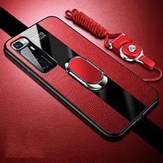 Silikon Hülle Handyhülle Gummi Schutzhülle Flexible Leder Tasche mit Magnetisch Fingerring Ständer für Xiaomi Mi 10 Ultra Rot