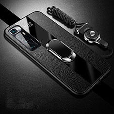 Silikon Hülle Handyhülle Gummi Schutzhülle Flexible Leder Tasche mit Magnetisch Fingerring Ständer für Xiaomi Mi 10 Ultra Schwarz