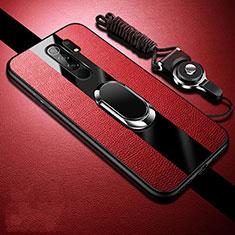 Silikon Hülle Handyhülle Gummi Schutzhülle Flexible Leder Tasche mit Magnetisch Fingerring Ständer für Xiaomi Redmi 9 Prime India Rot