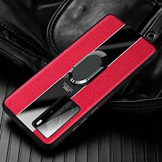 Silikon Hülle Handyhülle Gummi Schutzhülle Flexible Leder Tasche mit Magnetisch Fingerring Ständer S01 für Huawei Honor 30 Rot