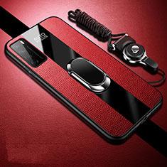 Silikon Hülle Handyhülle Gummi Schutzhülle Flexible Leder Tasche mit Magnetisch Fingerring Ständer S01 für Huawei Honor Play4 5G Rot
