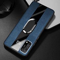 Silikon Hülle Handyhülle Gummi Schutzhülle Flexible Leder Tasche mit Magnetisch Fingerring Ständer S01 für Oppo K7x 5G Blau