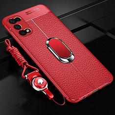 Silikon Hülle Handyhülle Gummi Schutzhülle Flexible Leder Tasche mit Magnetisch Fingerring Ständer S01 für Realme V5 5G Rot