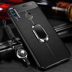 Silikon Hülle Handyhülle Gummi Schutzhülle Flexible Leder Tasche mit Magnetisch Fingerring Ständer S01 für Samsung Galaxy A20s Schwarz
