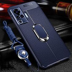 Silikon Hülle Handyhülle Gummi Schutzhülle Flexible Leder Tasche mit Magnetisch Fingerring Ständer S01 für Vivo X51 5G Blau
