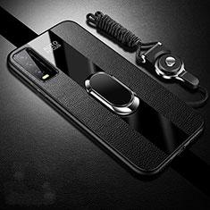 Silikon Hülle Handyhülle Gummi Schutzhülle Flexible Leder Tasche mit Magnetisch Fingerring Ständer S01 für Vivo Y12s Schwarz
