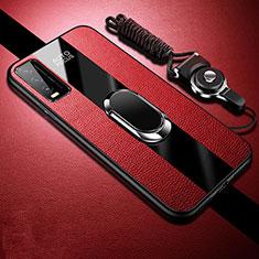Silikon Hülle Handyhülle Gummi Schutzhülle Flexible Leder Tasche mit Magnetisch Fingerring Ständer S01 für Vivo Y20s Rot