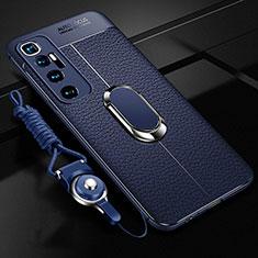 Silikon Hülle Handyhülle Gummi Schutzhülle Flexible Leder Tasche mit Magnetisch Fingerring Ständer S01 für Xiaomi Mi 10 Ultra Blau