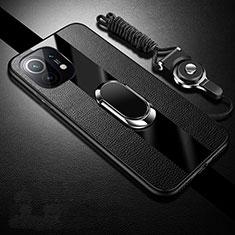 Silikon Hülle Handyhülle Gummi Schutzhülle Flexible Leder Tasche mit Magnetisch Fingerring Ständer S01 für Xiaomi Mi 11 5G Schwarz