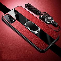 Silikon Hülle Handyhülle Gummi Schutzhülle Flexible Leder Tasche mit Magnetisch Fingerring Ständer S02 für Oppo K7x 5G Rot