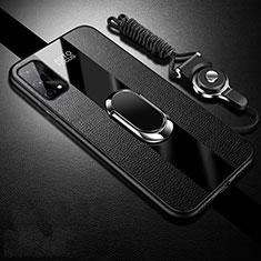Silikon Hülle Handyhülle Gummi Schutzhülle Flexible Leder Tasche mit Magnetisch Fingerring Ständer S02 für Oppo K7x 5G Schwarz