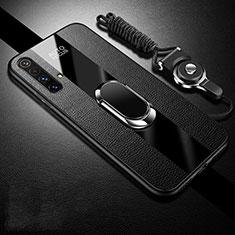 Silikon Hülle Handyhülle Gummi Schutzhülle Flexible Leder Tasche mit Magnetisch Fingerring Ständer S02 für Realme X3 SuperZoom Schwarz