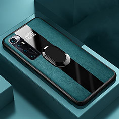 Silikon Hülle Handyhülle Gummi Schutzhülle Flexible Leder Tasche mit Magnetisch Fingerring Ständer S02 für Xiaomi Mi 10 Ultra Grün