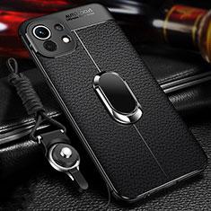 Silikon Hülle Handyhülle Gummi Schutzhülle Flexible Leder Tasche mit Magnetisch Fingerring Ständer S02 für Xiaomi Mi 11 5G Schwarz