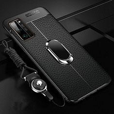 Silikon Hülle Handyhülle Gummi Schutzhülle Flexible Leder Tasche mit Magnetisch Fingerring Ständer S03 für Huawei Honor 30 Pro Schwarz