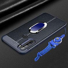 Silikon Hülle Handyhülle Gummi Schutzhülle Flexible Leder Tasche mit Magnetisch Fingerring Ständer S03 für Xiaomi Redmi Note 8T Blau