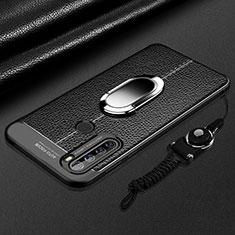 Silikon Hülle Handyhülle Gummi Schutzhülle Flexible Leder Tasche mit Magnetisch Fingerring Ständer S03 für Xiaomi Redmi Note 8T Schwarz
