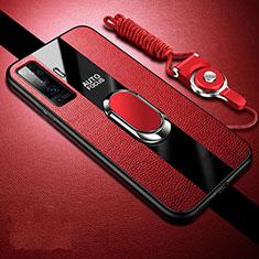Silikon Hülle Handyhülle Gummi Schutzhülle Flexible Leder Tasche mit Magnetisch Fingerring Ständer S04 für Vivo X50 5G Rot
