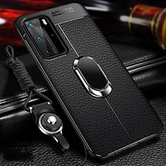 Silikon Hülle Handyhülle Gummi Schutzhülle Flexible Leder Tasche mit Magnetisch Fingerring Ständer T01 für Huawei P40 Pro Schwarz