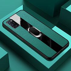 Silikon Hülle Handyhülle Gummi Schutzhülle Flexible Leder Tasche mit Magnetisch Fingerring Ständer T01 für Oppo A92 Grün